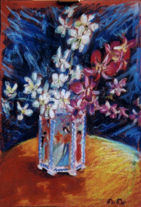 Orchids in Chinese vase Pastel 2000. Singapore