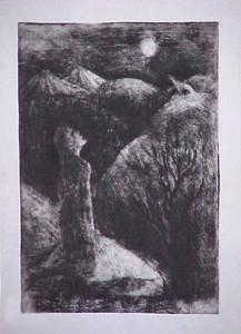 Wolf (G. Chokheli) Etching 1998. Tbilisi