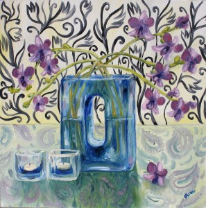 Orchids in a blue vase Oil on canvas 2007. Denmark
