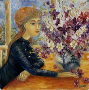 Girl with orchids Oil on canvas 2000. Singapore