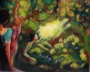 Prayer in the garden, oil on canvas, 2014, Denmark