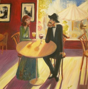 Afternoon in the cafe Oil on canvas 2007. Denmark