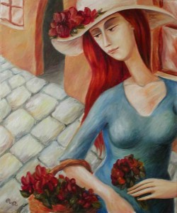 Flower-girl Oil on canvas 2002. Denmark