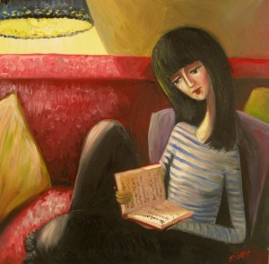 Girl with a book Oil on canvas 2007. Denmark