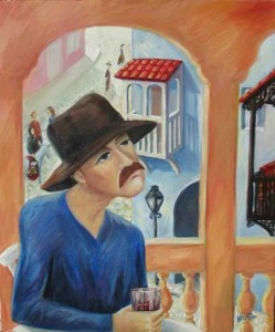 Man in the old city Oil on canvas 2002. Denmark