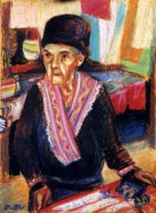 Old woman Pastel 2000. Singapore
