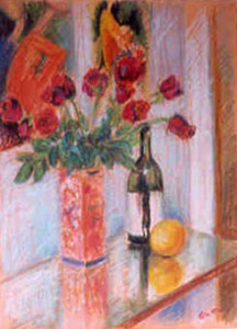Still Life with roses Pastel 1999. Singapore