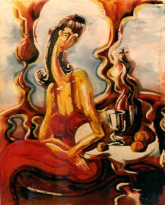 Woman in red Batik 1997. Tbilisi