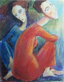 Two women Pastel 1999. Singapore